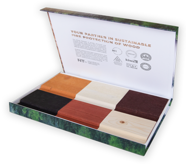 Colour samples of fire-protected wood
