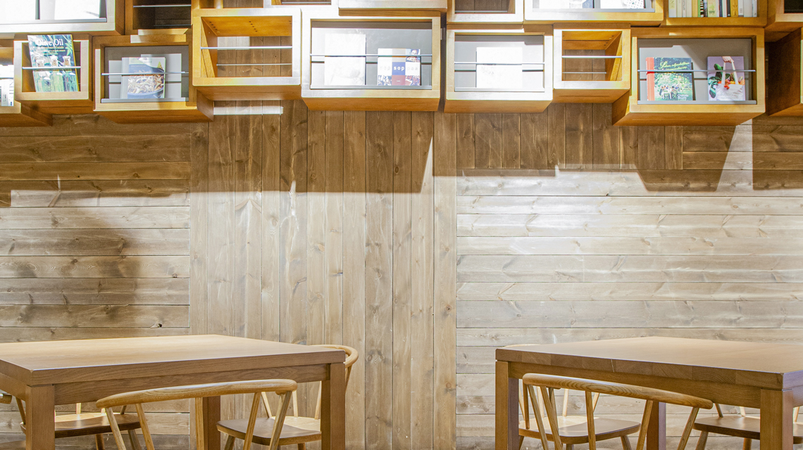Wood is a great, trendy material for shop decor